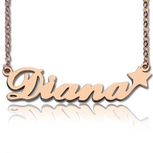 Rose Gold Sex And The City Name Necklace With Star