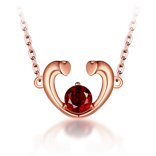Red garnet heart necklace in rose gold 18 red garnet heart necklace in rose gold 18 chain aloadofball Gallery