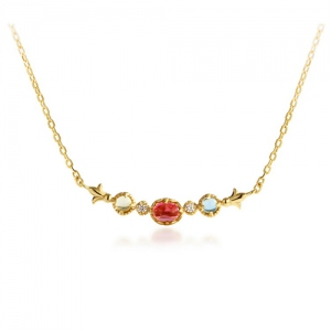 Red Tourmaline Fashion Necklace For Women 18