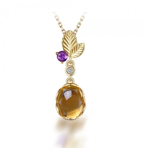 Natural Citrine Leaves Pendant 18K Gold Plating Silver 18