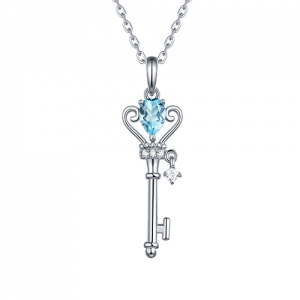 Natural Gemstone Key To My Heart Necklace Sterling Silver 18