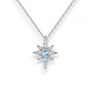 North Star Gemstone Pendant Sterling Silver 18