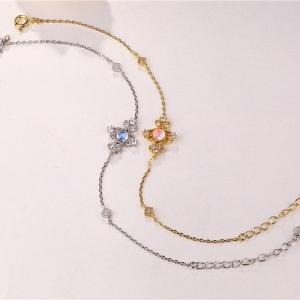 "Rhinestone Inlaid S925 Women Bracelet 7.5"" Chain"