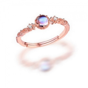 Natural Gemstone Halo Ring Sterling Silver Size Adjustable 6-9