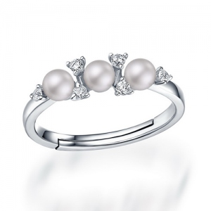 Fashion Women's Pearls Ring Size Adjustable 6-9