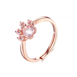 Bague Patte de Chat Rose Cristal Naturel