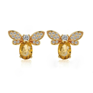 Natural Citrine Bee Shape Earrings