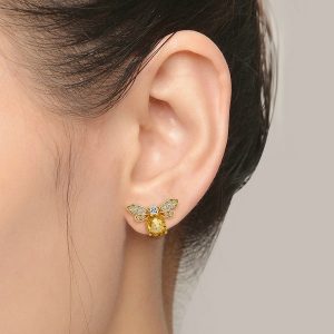 yellow bee earrings