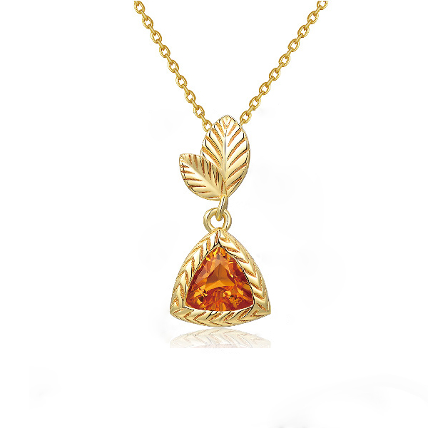 Natural Triangle Citrine Leaf Necklace