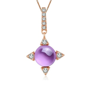 Natural Round Amethyst Necklace In Rose Gold