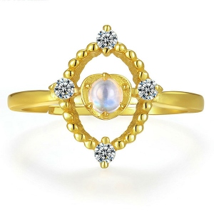 Natural Blue Moonstone Ring 18K gold plated silver