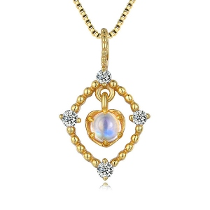 Collier Naturelle Pierre de Lune Bleu-Plaqué Or 18ct
