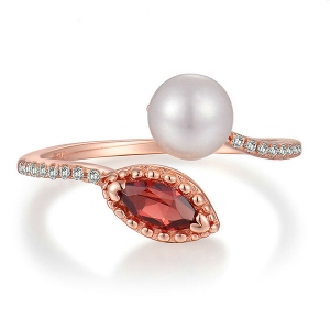 Natural White Pearl & Red Garnet Ring In Rose Gold