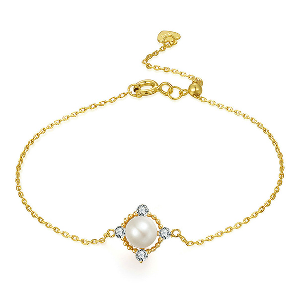 Natural Pearl Bracelet In Gold Color 6.7