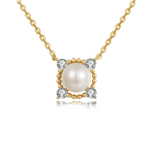 Natural Pearl Clavicular Chain Necklace 18