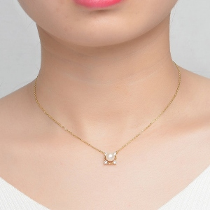 Natural Pearl Clavicular Chain Necklace 18""