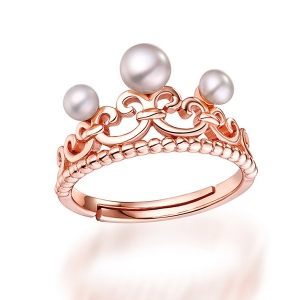 Natural Crown White Pearl Ring In Rose Gold