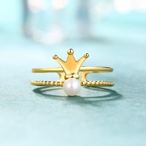 Elegant Crown Ring With Freshwater Pearl Gold Plated Silver