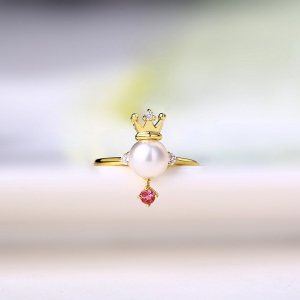 Pearl Crown Ring With Natural Powder Tourmaline Gold Plated Silver