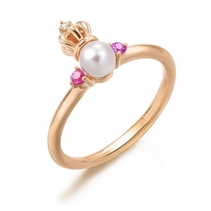 Pearl Crown Ring With Red Corundum Gold Plated Silver
