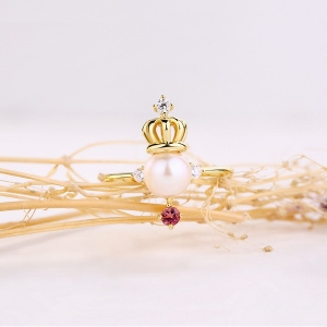 Neat Freshwater Pearl Crown Ring With Natural Pink Tourmaline Gold Plated Silver