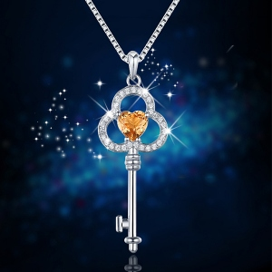 key pendant with natural topaz