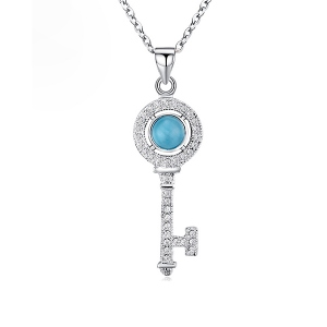 Natural Blue Opal Key Necklace