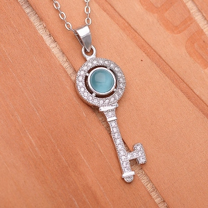Blue Cat Eye Key Pendant