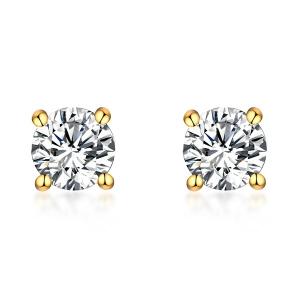 Personalized Gemstone Stud Earrings in Gold