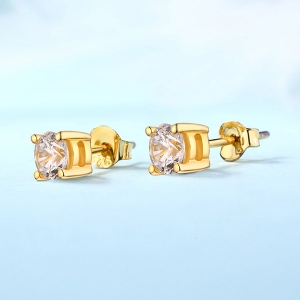 Personalized Gemstone Stud Earrings in Gold