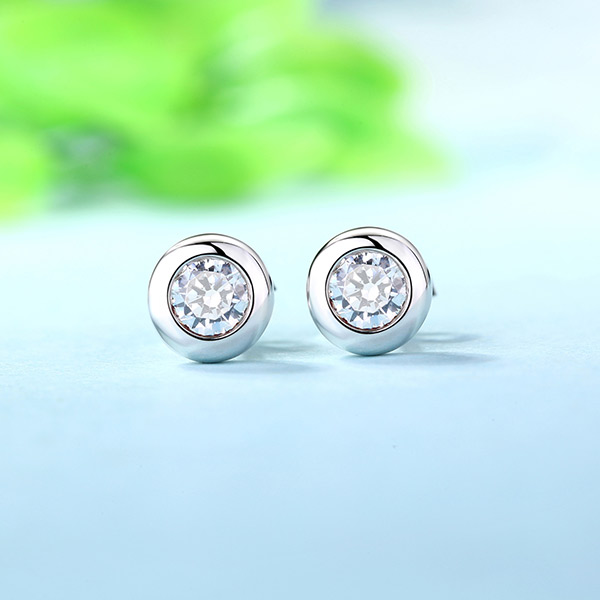 Personalized Stylish Gemstone Stud Earrings In Sterling Silver