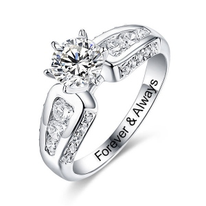 Engraved Round Gemstone Promise Ring In Silver