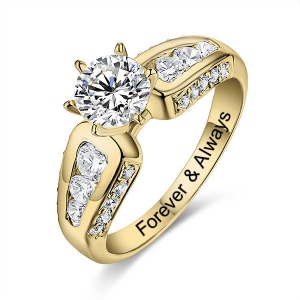 Engraved Round Gemstone Promise Ring In Gold