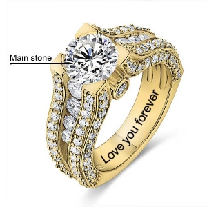 10k/14k Engraved Gemstone Exclusive Bridal Ring