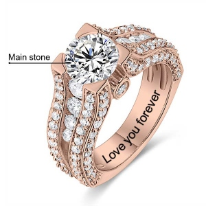 Engraved Gemstone Exclusive Bridal Ring In Rose Gold