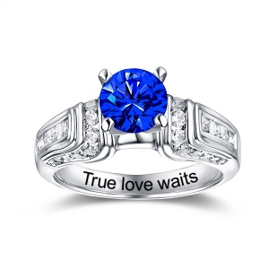 Engraved Round Gemstone Wedding Ring In Silver