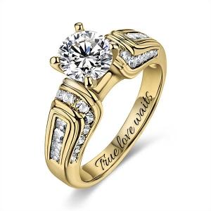 10k/14k Engraved Round Gemstone Wedding Ring