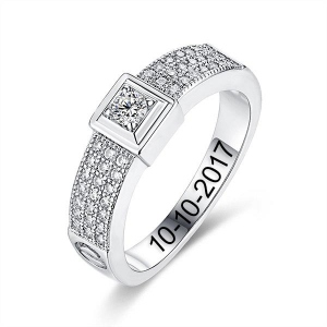 Engraved Gemstone Classic Engagement Ring In Silver