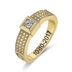 10k/14k Engraved Gemstone Classic Engagement Ring
