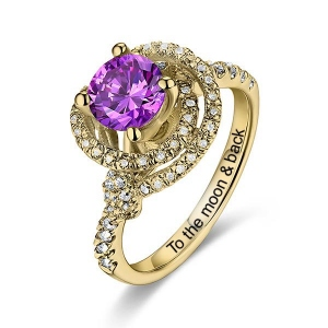 Women's Engraved Gemstone Engagement Ring In Gold