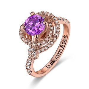 Women's Engraved Gemstone Engagement Ring In Rose Gold