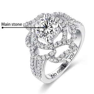Engraved Gemstone Floral Wedding Ring In Silver