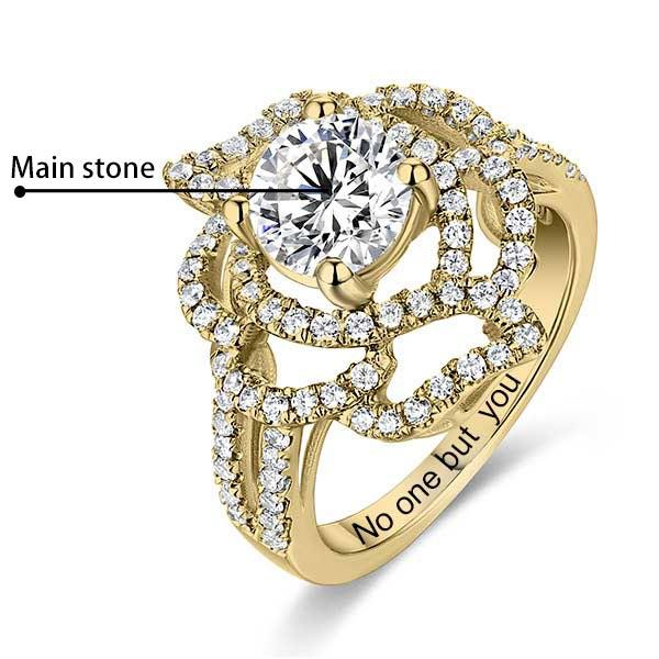 eef98d626e8aaf Engraved Gemstone Floral Wedding Ring In Gold