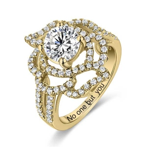 Engraved Gemstone Floral Wedding Ring In Gold