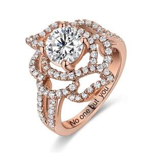 Engraved Gemstone Floral Wedding Ring In Rose Gold