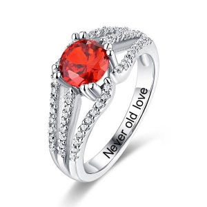 Engraved Halo Gemstone Bridal Ring For Special Her In Silver