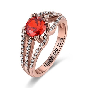 Engraved Halo Gemstone Bridal Ring For Special Her In Rose Gold
