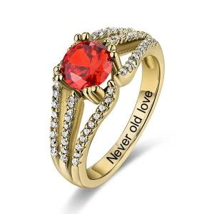 10k/14k Engraved Halo Gemstone Bridal Ring For Special Her