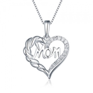 Personalized Engraved Mom Heart Necklace With Crystal Sterling Silver