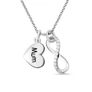 Personalisierte Gravierte Infinity Liebe Halskette  mit Gravur in Sterling Silber